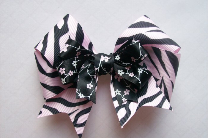 Hair Bow--Pink and Black Zebra Stripes Double Layer Bow