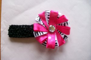 Hot Pink and Zebra Funky Boutique Hair Bow--with Headband
