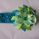 Blue and Lime Green--Funky Boutique Bow--With Free Headband