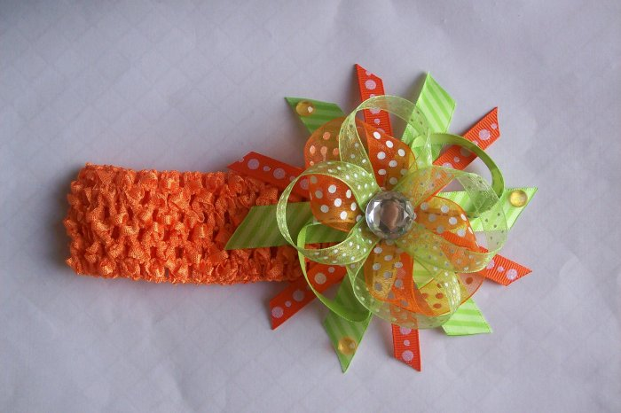 Orange and Lime Green--Funky Boutique Hair Bow--With Free Matching Headband