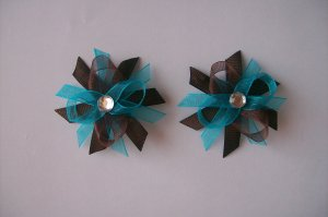 Turquoise and Brown--Pigtail Set--Funky Boutique Bows