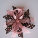Pink and Brown Funky Boutique Bow--WITH FREE MATCHING HEADBAND