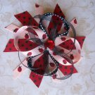 Lady Bug Cutie--Funky Boutique Hair Bow--WITH FREE MATCHING HEADBAND