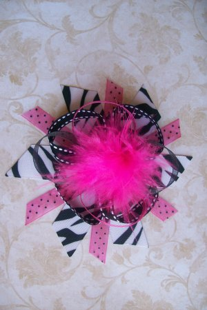 Pink and Zebra Funky Boutique Bow with Marabou Puff--WITH FREE MATCHING HEADBAND--