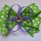 Lime Green Dots and Purple---Medium Sized Boutique Bow