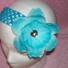 Turquoise Interchangeable Peony Flower Clip---