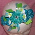 Turqouise and Lime Green Large Boutique Hair Bow---SOOO CUTE----