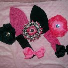 Pink and Black---Little Diva---Hair Bow Gift Set----
