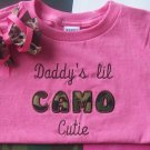 Daddy's Lil CAMO Cutie---Embroidered Shirt and Hair Bow Set---ADORABLE---