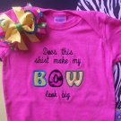 Does this shirt make my BOW look big---Embroidered Shirt with Matching Hair Bow Set---SOOO CUTE---