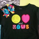 Peace, Love, and BOWS----Embroidered Shirt and Hair Bow Set---From bowdaciousbows417