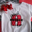 Cutest HUSKER Fan--Embroidered Shirt and Hair Bow Set