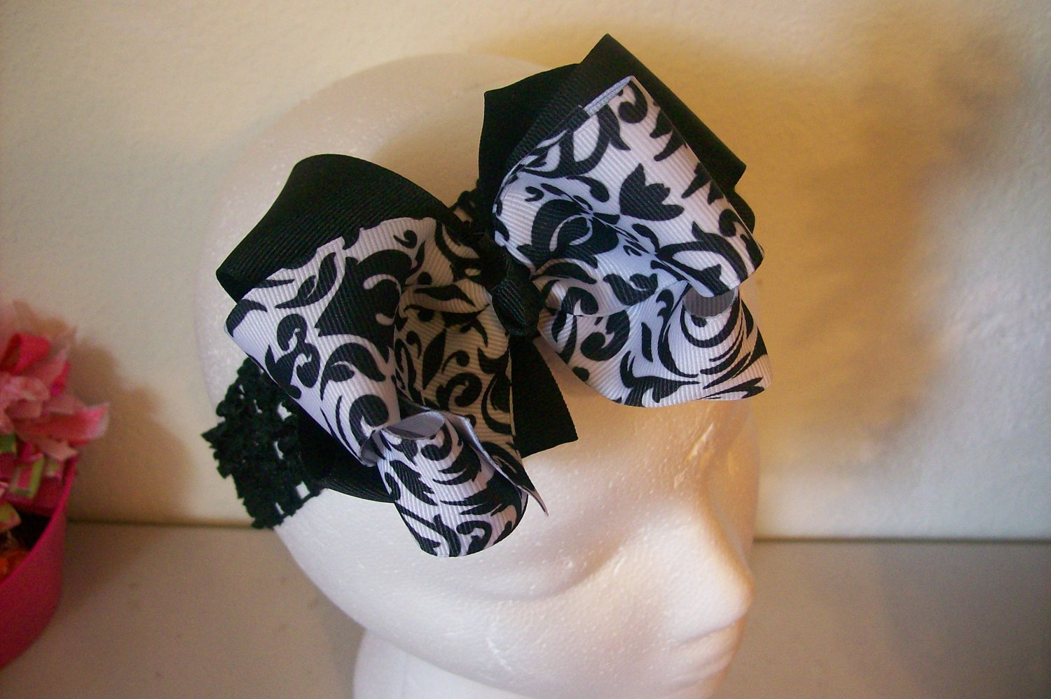 Elegant Black and White Damask Print Double Layer Hair Bow