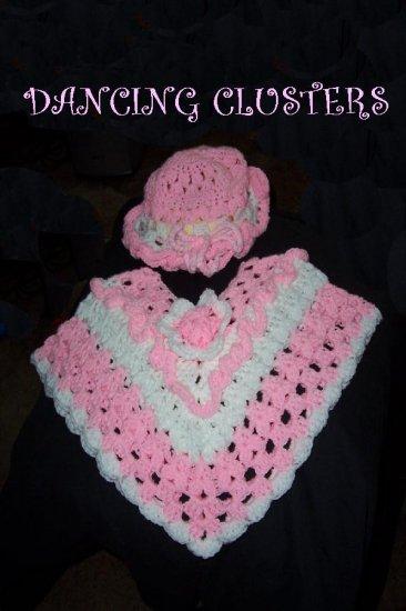 Dancing Clusters Crochet Poncho & Hat Pattern Girls Original Design