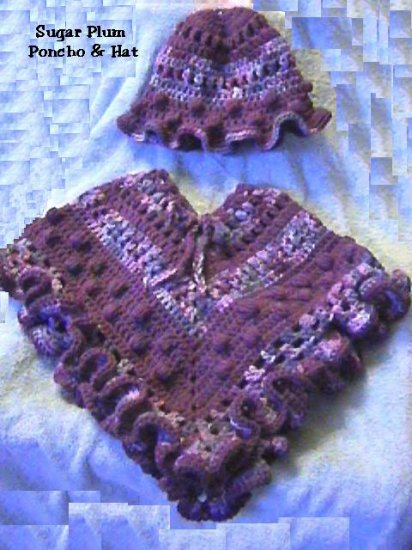 Sugar Plums Poncho & Hat Crochet Pattern offered by Desinger
