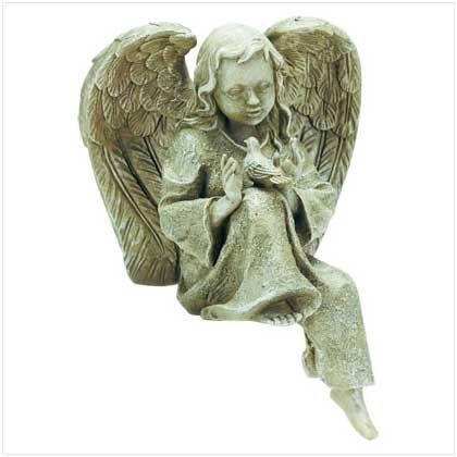 Garden Angel w/bird-verdigris