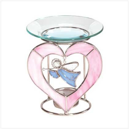 Glass Angel Heart Oil Warmer