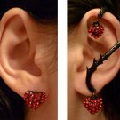 Ear Wrap Earring Set Black Red Rhinestone sh fast New