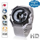 Free Shipping 4GB Men's Metal Gossip Face IR Night Vision HD Camera Watch DVR Voice Active(F10)