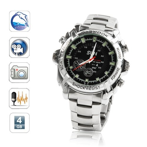Free Shipping Men's Steel Wrist Watch Hidden Camera DVR Spy Camera Motion Sensor 1080P 4GB (W2000)