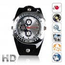 Real Leather Band 4GB Spy Camera Camcorder Watch Waterproof Motion Detection Sensor (W7000)