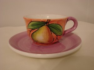 Handpainted Pear Cup and Saucer Made in Italy  (428)