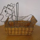 361c  Weaved Wicker and Metal Chicken Basket with Handle