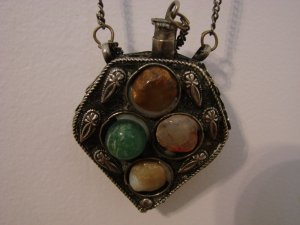 Antique Victorian Perfume Necklace Four Stones