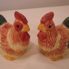 Chicken Rooster Multi-color Ceramic Salt & Pepper