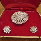 Vintage Rhinestone Brooch with Matching Clip Earrings