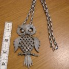 Pewter-like Owl Pendant and Necklace - Moveable