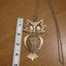 Goldtone Large Owl Pendant with long fashion necklace
