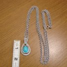 Vintage Avon Silvertone Turquoise Pendant Necklace