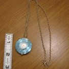 Goldtone and Blue Montreluxe Watch Pendant and Necklace