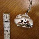 Silvertone Fat Bunny Pendant with chain link silvertone chain