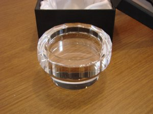 Oleg Cassini Crystal Pillar Candle Holder Julia New in Box