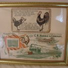 Two Vintage Rooster Cards Framed  C.R. Horrie & Co.