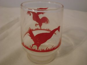 Large Shot Glass with Red Painted Roosters