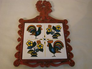 Rooster and Flowers Cast Iron and Ceramic Trivet