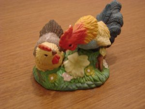 Rooster and Chicken Colorful Ceramic Figurine