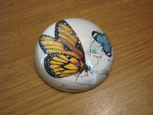 Yellow Monarch Butterfly Botanical Glass Paperweight New in Box