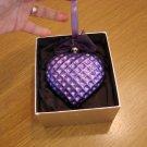 Jeweled Blown Glass Purple Heart Ornament New in Box