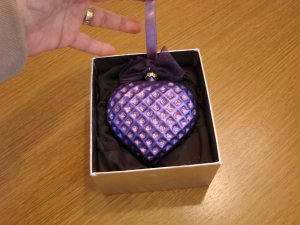 Jeweled Blown Glass Purple Heart Ornament New in Box