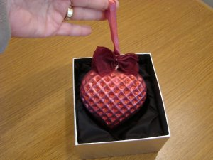 Jeweled Blown Glass Berry Red Heart Ornament New in Box