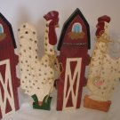 Wooden Chicken and Barn Folding hinged Decoration