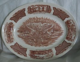 "14"" Oval Serving Platter in Fair Winds-Brown by Meakin, Alfred USED"
