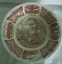 """8 1/2""""  Round Vegetable Bowl in Fair Winds-Brown by Meakin, Alfred USED"""
