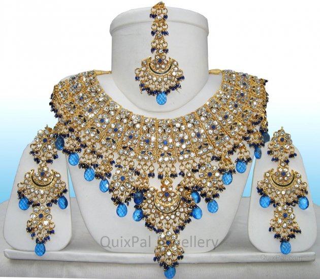 Indian Costume Jewelry Jodha Akbar Necklace Set 921 Blue