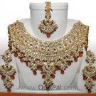 Indian Fashion Jewelry Jodha Akbar Necklace Set 921 Coffee
