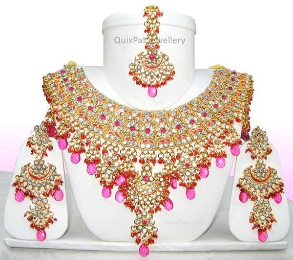 Indian Fashion Jewelry Jodha Akbar Necklace Set 921 Magenta